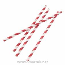 Fiesta Green Compostable Paper Straws Red Stripes