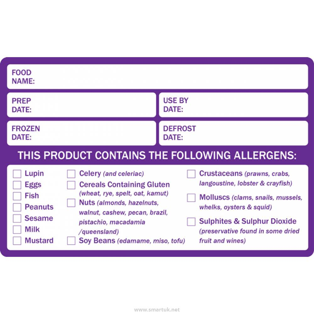 preparation and allergen food labels - smart hospitality supplies