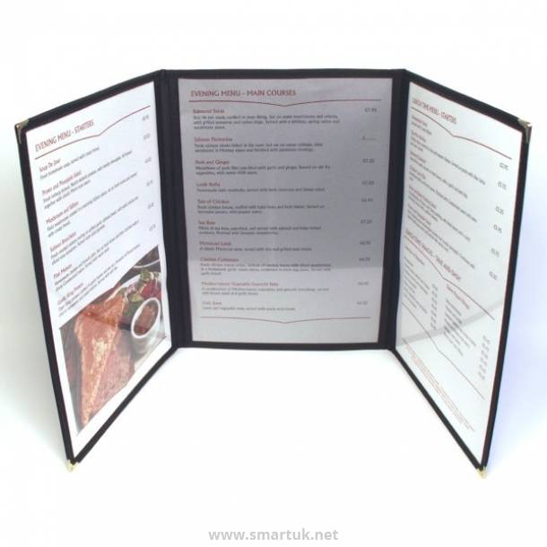 Buckram Framed Plastic Menu Covers