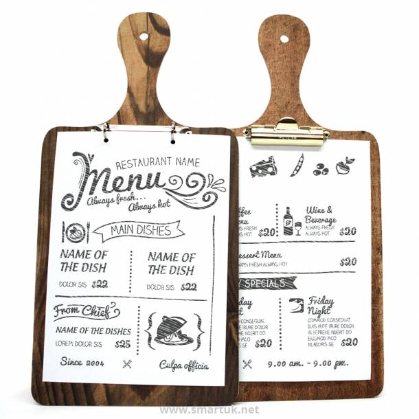 Die Cut Printed Wooden Menu Boards