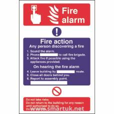 Fire Alarm / Fire Action Sign Self Adhesive