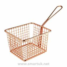 Olympia Large Square Chip Presentation Basket With Handle Copper