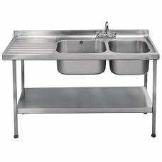 Franke Sissons Stainless Steel Sink Double Left Hand Drainer 1500x600mm