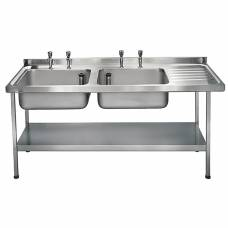 Franke Sissons Stainless Steel Sink Double Right Hand Drainer 1800x650mm