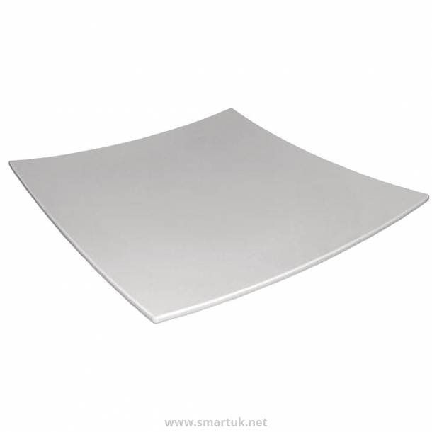 Curved Square Melamine Plate White 400mm
