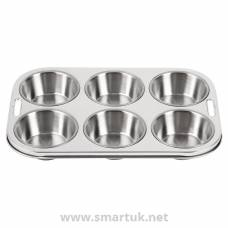 Vogue Stainless Steel 6 Cup Deep Muffin Tray