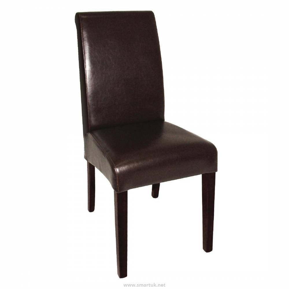 Bolero GF956 Curved Back Leather Chair Dark Brown Pack of 2