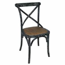 Bolero Black Wooden Dining Chairs with Backrest (Pack of 2)