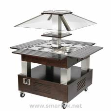 Roller Grill Heated Salad Bar Square Dark Wood