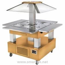 Roller Grill Heated Salad Bar Square Light Wood