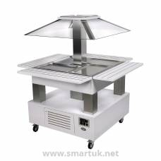 Roller Grill Heated Salad Bar Square White Wood