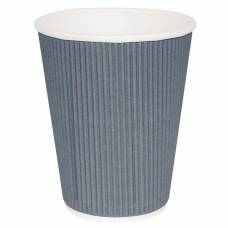 Fiesta Ripple Wall Takeaway Coffee Cups Charcoal 225ml / 8oz x 500