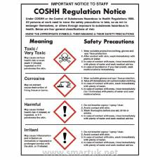 Vogue COSHH Regulations Sign