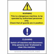 Dangerous Machine Cleaning Sign