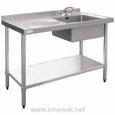 Vogue Stainless Steel Sink Left Hand Drainer 1200x600mm
