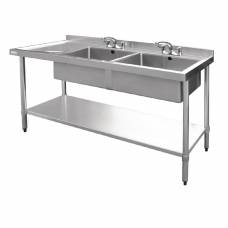 Vogue Stainless Steel Sink Double Bowl with Left Hand Drainer 1800mm