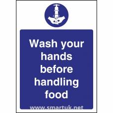 Vogue Wash hands Before Handling Food Sign