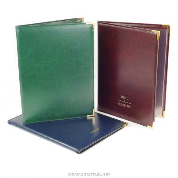 Stitched Hide Leather Menu Covers