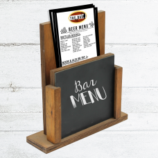 Wooden - Menu Holder with Chalk Board