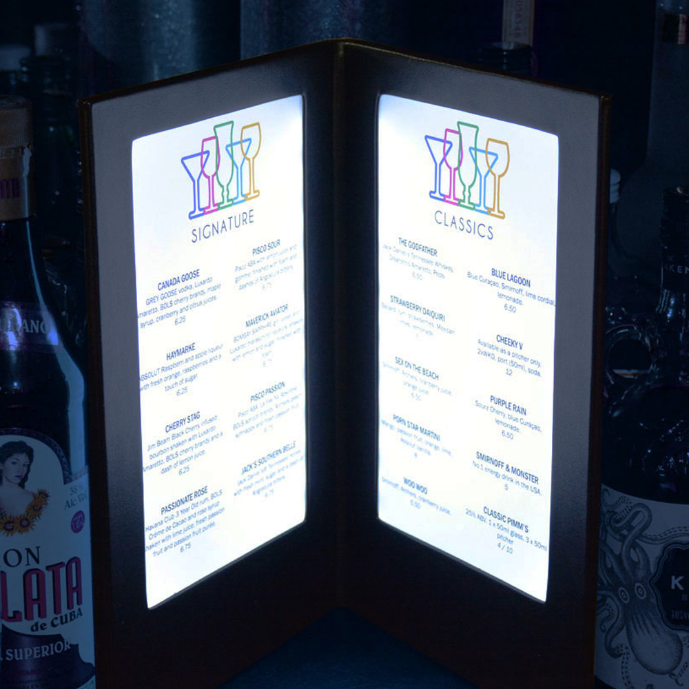 Illuminated Menu Covers Smart Hospitality Supplies